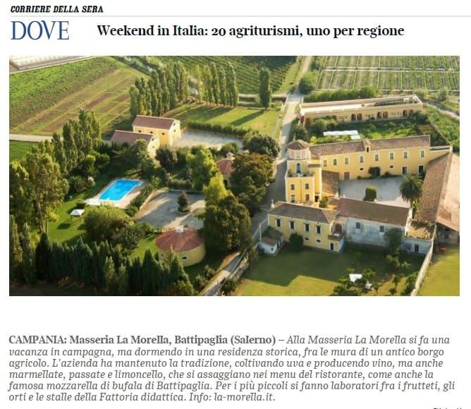 La Morella tra i 20 agriturismi più belli d'Italia per Dove Viaggi (Corriere della Sera)