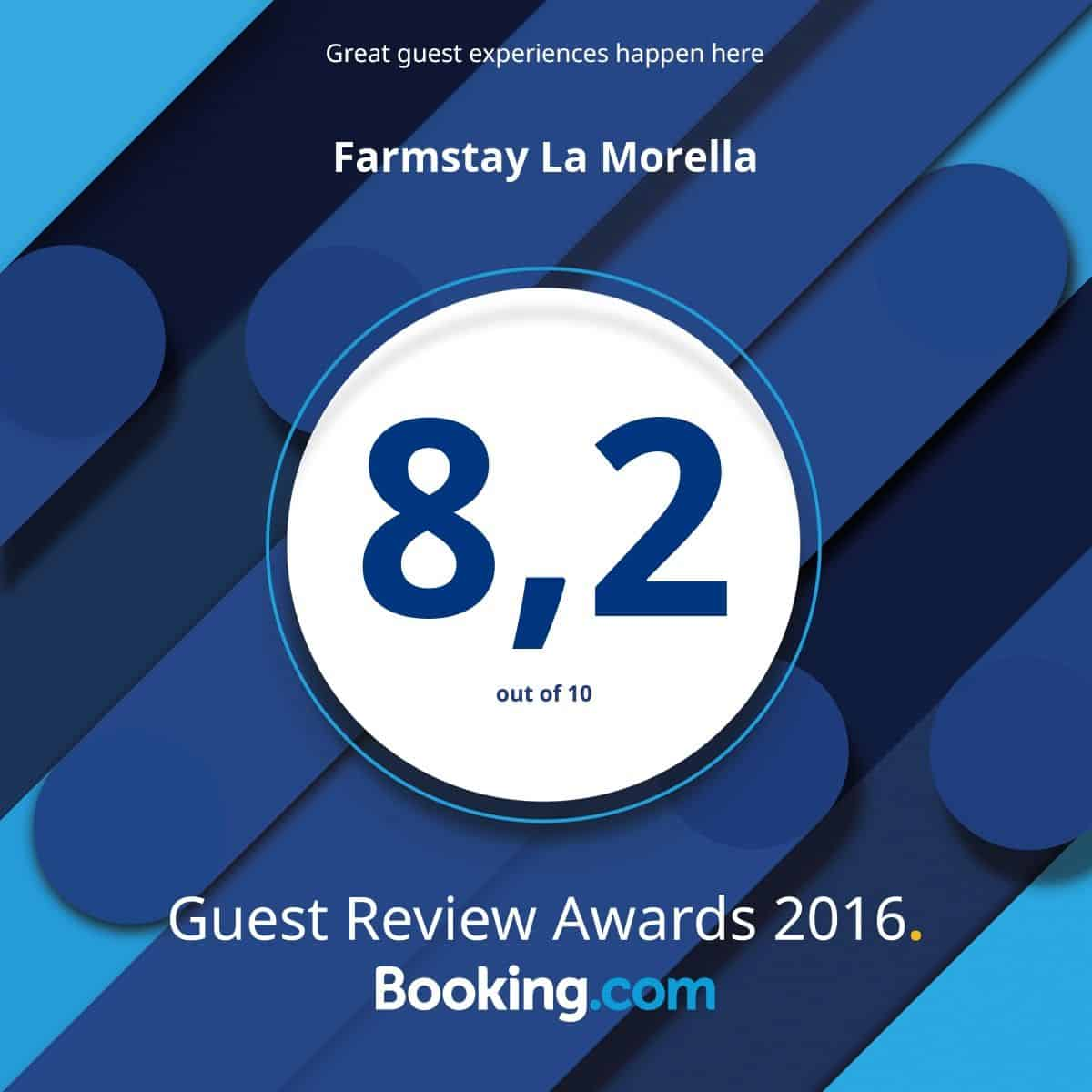 La Morella riceve il Guest Review Awards 2016 da Booking.com