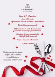 Menu cena di S.Valentino alla Morella
